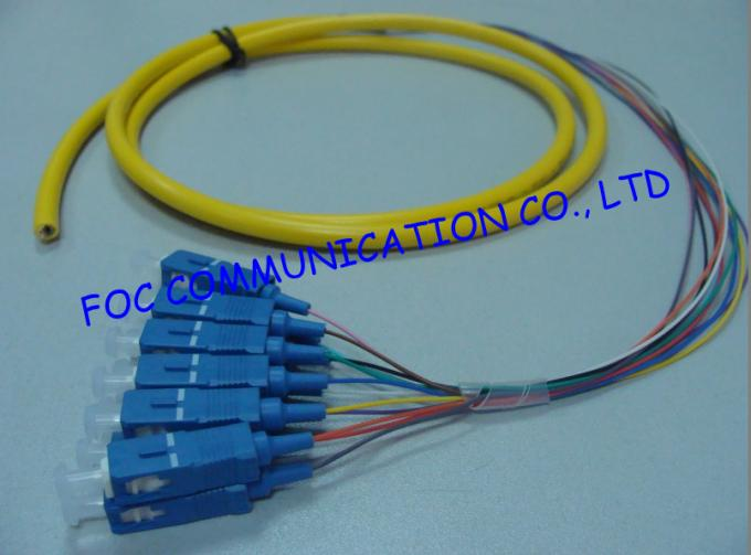SC / APC Fiber Optic Pigtail Corning Fiber SM Hytrel Low Insertion Loss ODF