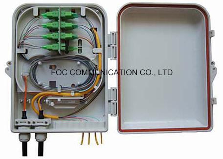 Wall / Pole Mount Fiber Optic Termination Box 16 Core With PLC Splitter Steel Tube