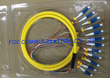 China Distribution Optical Fiber Pigtail LC UPC 12Cores Flame Retardant Low Attenuation supplier