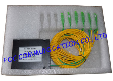 China Yellow Fiber PLC Splitter SC / APC , 1*4 And 1*8 FTTX FTTH Splitter Low Insertion Loss supplier