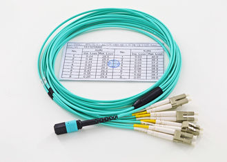 China 12 Core Fiber Optic Patch Cord MPO/MTP - LC 10G OM3 MM 50/125um Breakout Cable supplier