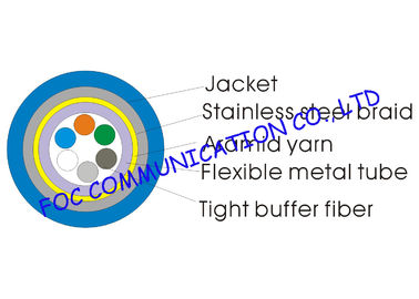 China 6Core Armored Optic Fiber Cable Tight Buffer Metal Tube and Metal Braid supplier