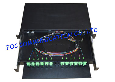 "China 19"" Fiber Optic Patch Panel , SC/APC 24 Port Network Patch Panel supplier"