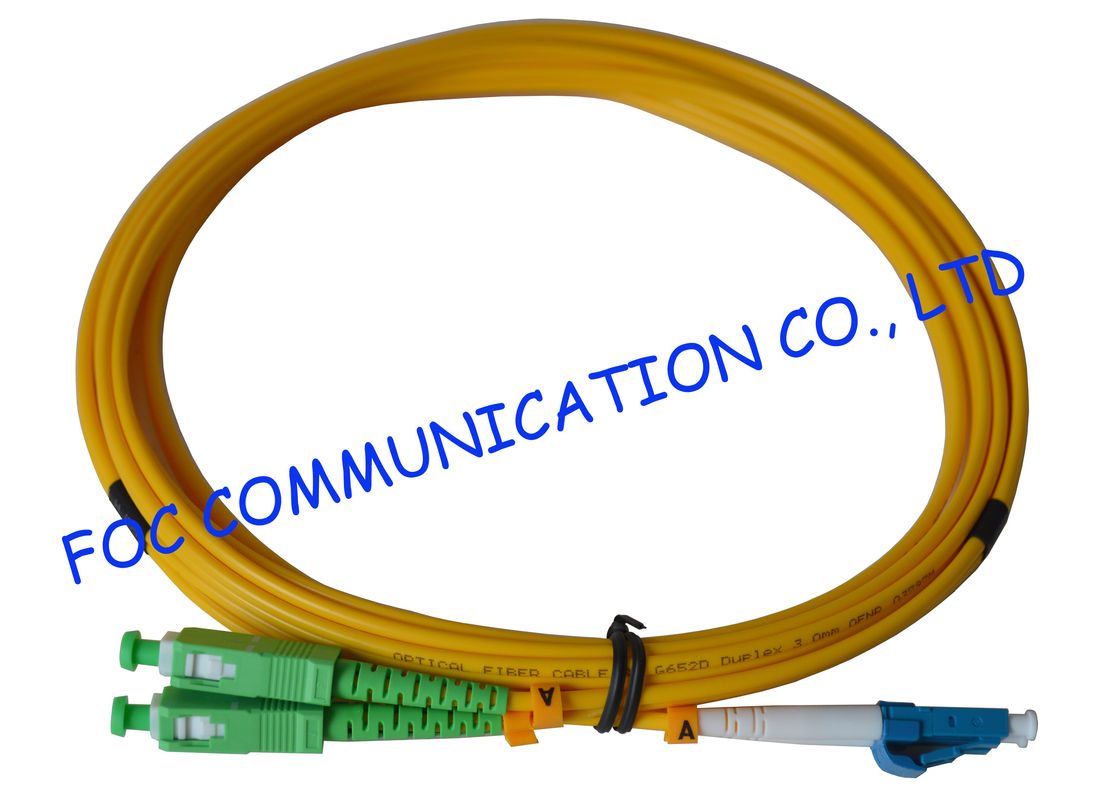 G.652D SM Duplex Indoor Type Fiber Optic Patch Cord With OFNP Cable