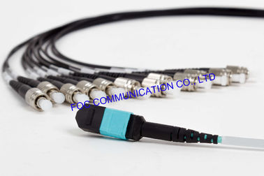 China 10G Fiber Optic Patch Cord MPO/MTP - FC OM3 MM 50/125um Breakout Cable 12 Core distributor
