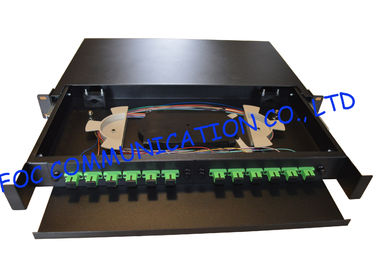 China Drawer Type Fiber Optic Distribution Box 1U 12Ports Full Loaded With SC Pigtail distributor